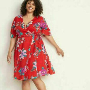New Old Navy Faux-Wrap Red Floral Dress Sz 3X Plus